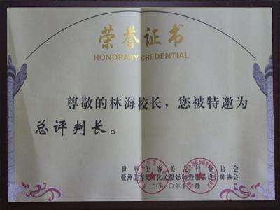 2010年林海校长被世界美容美发行业协会特邀为总评判长